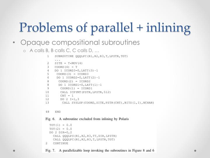 Problems of parallel +