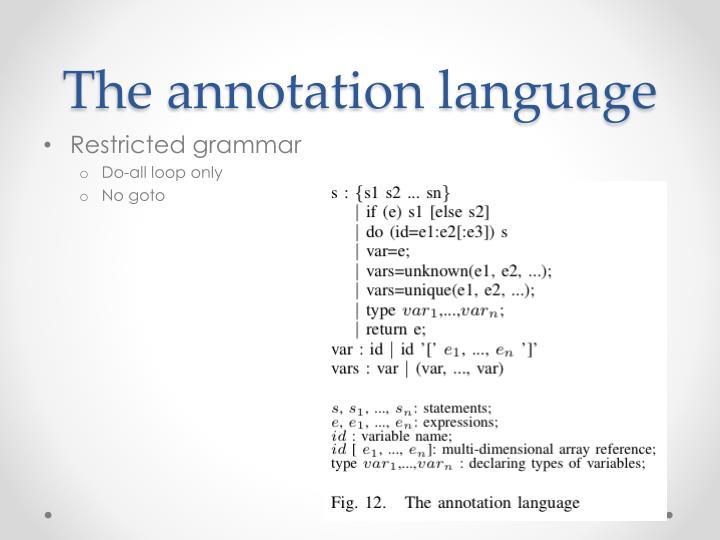 The annotation language