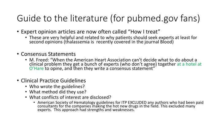 Guide to the literature (for pubmed.gov fans)