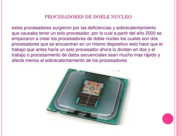 PROCESADORES DE DOBLE NUCLEO