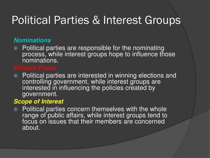 Political Parties & Interest Groups