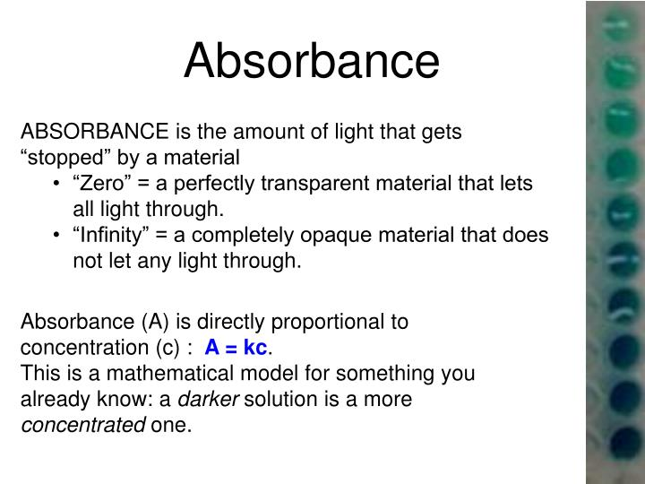 """ABSORBANCE is the amount of light that gets """"stopped"""" by a material"""