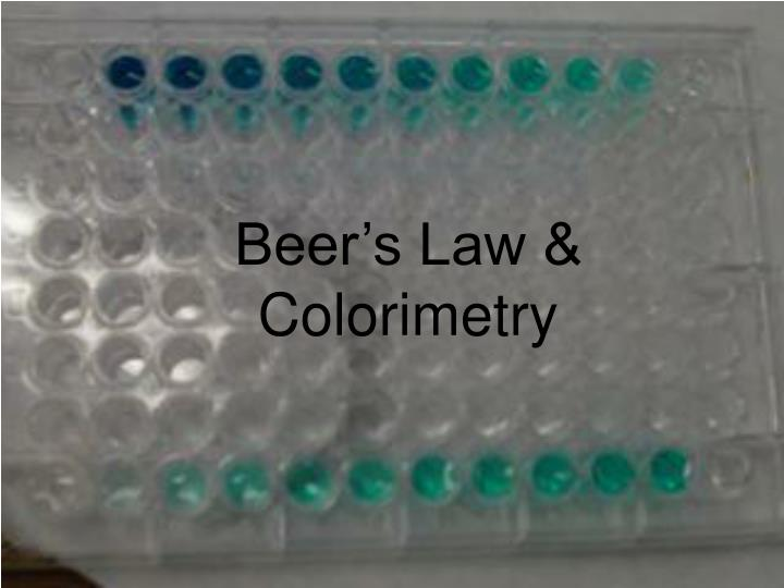 Beer's Law &