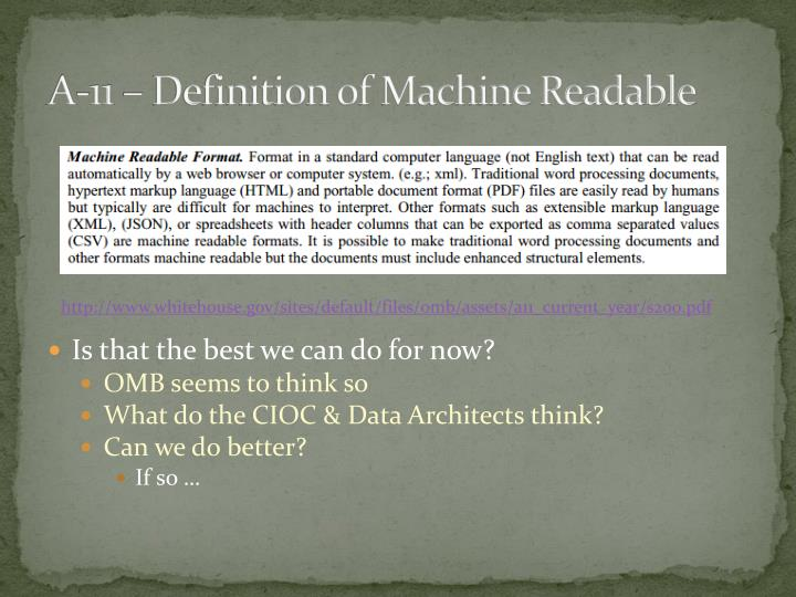 A-11 – Definition of Machine Readable