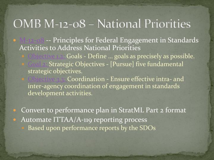 OMB M-12-08 – National Priorities