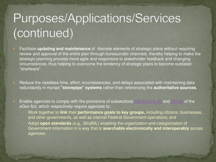 Purposes/Applications/Services (continued)