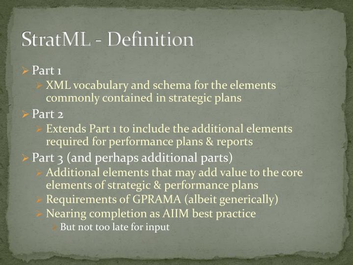 StratML - Definition