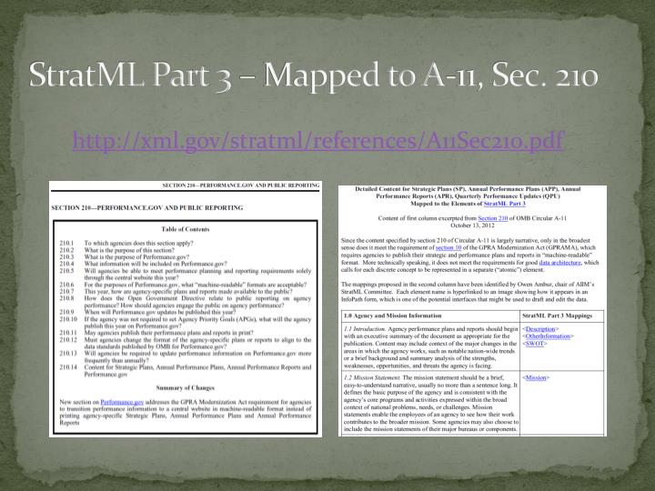 StratML Part 3 – Mapped to A-11, Sec. 210