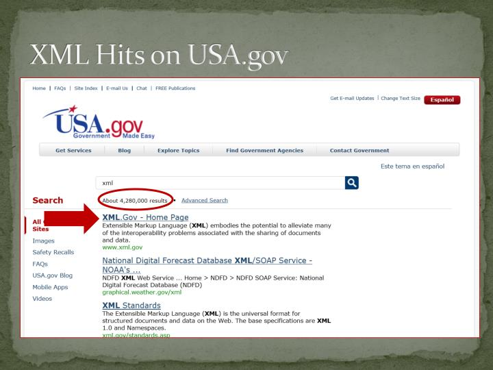 XML Hits on USA.gov