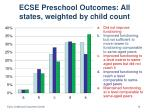 ecse preschool outcomes all states weighted by child count