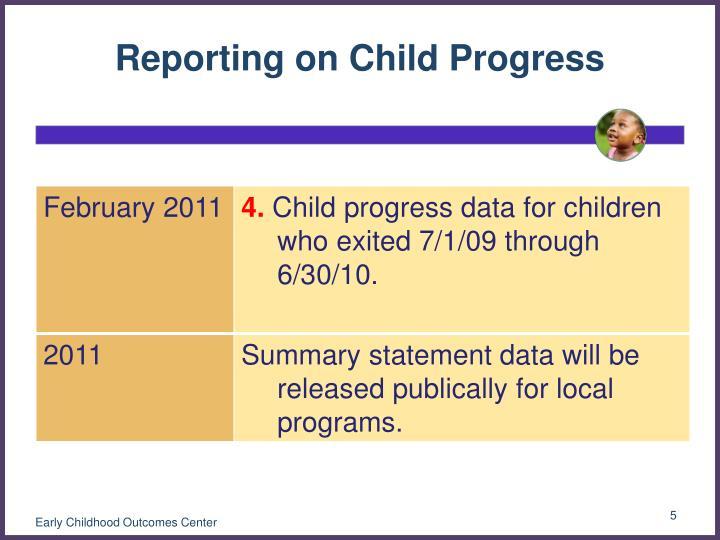 Reporting on Child Progress
