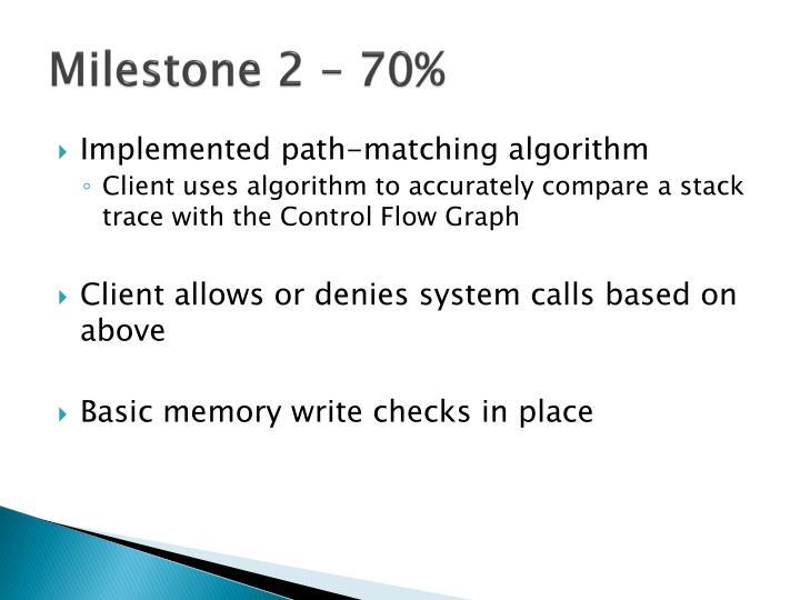 Milestone 2 – 70%