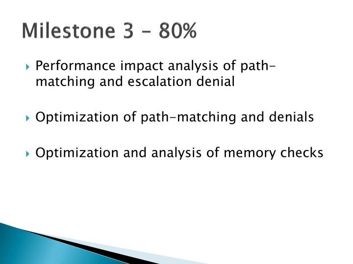 Milestone 3 – 80%