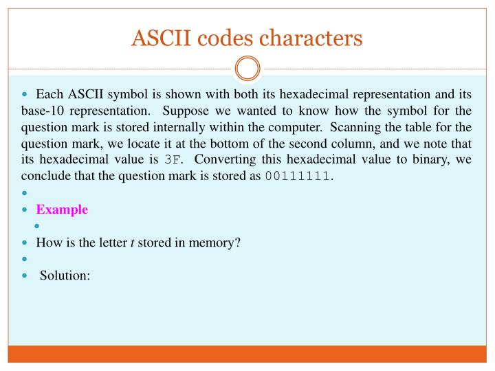 ASCII codes characters