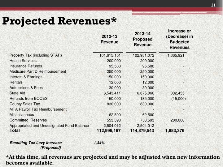 Projected Revenues*