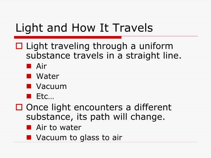 Light and How It Travels