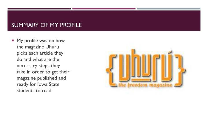 Summary of my profile
