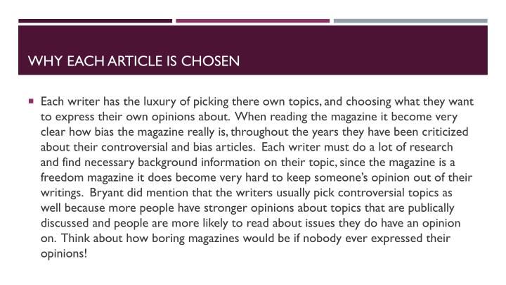 Why each article is chosen