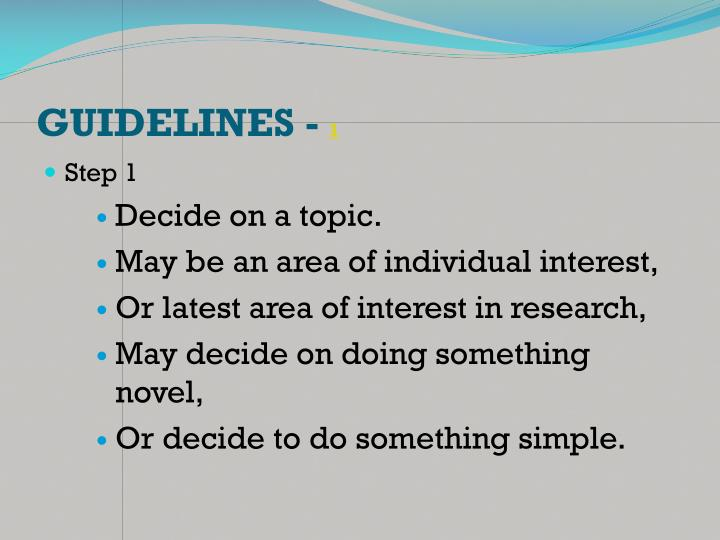 GUIDELINES -