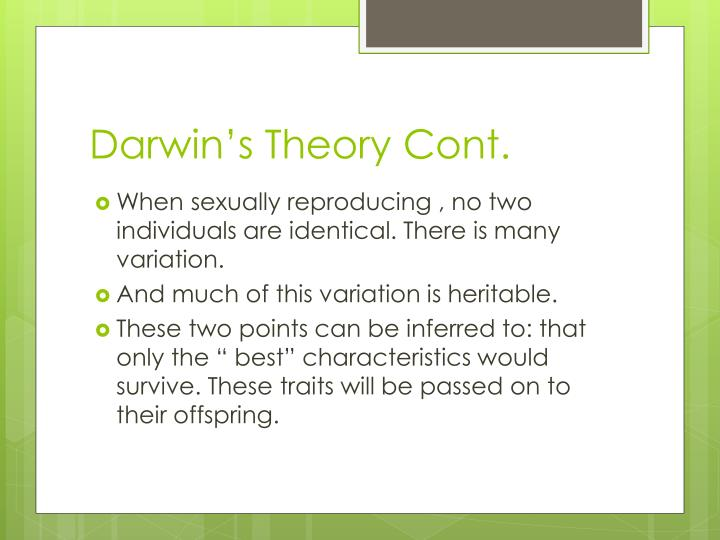 Darwin's Theory Cont.