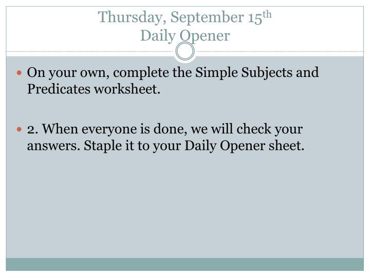 Thursday, September 15