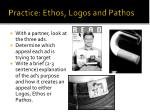 practice ethos logos and pathos