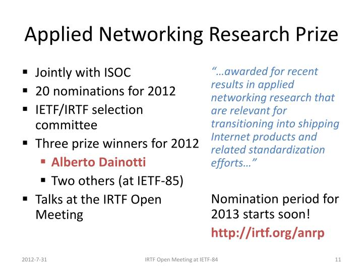Applied Networking Research