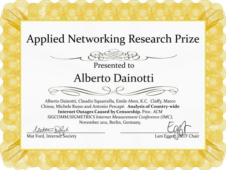 Applied Networking Research Prize