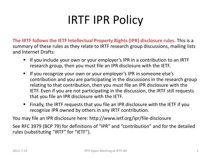 IRTF IPR Policy
