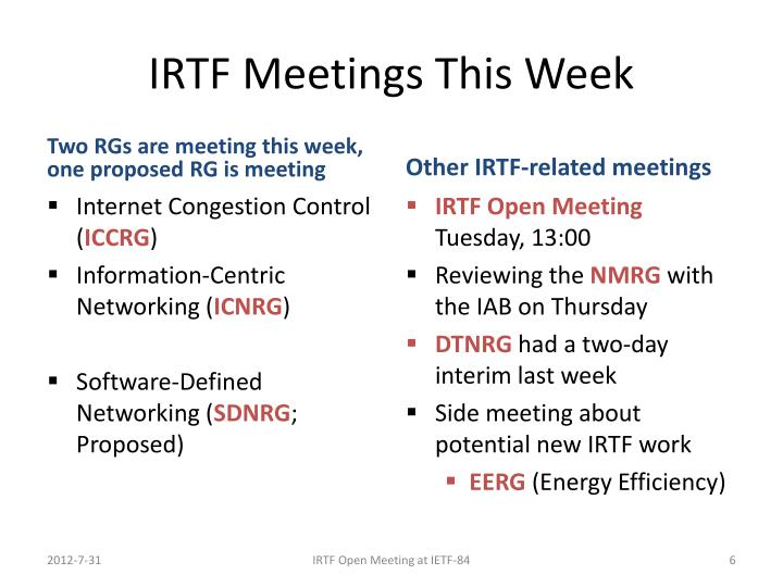 IRTF Meetings This Week