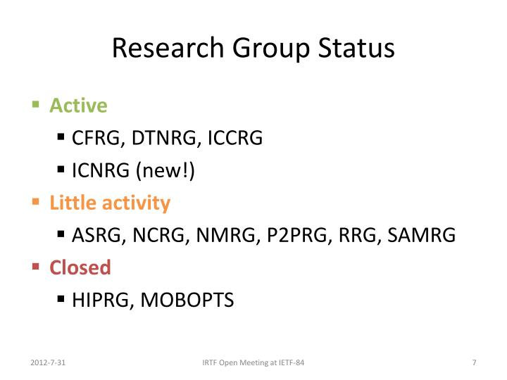 Research Group Status