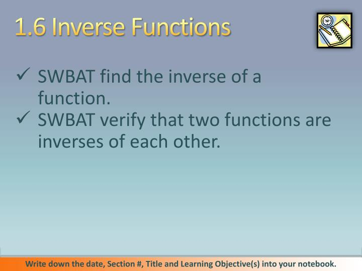 1 6 inverse functions