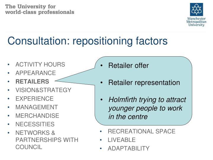 Consultation: repositioning factors