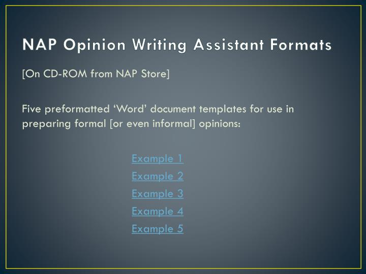 NAP Opinion Writing Assistant Formats