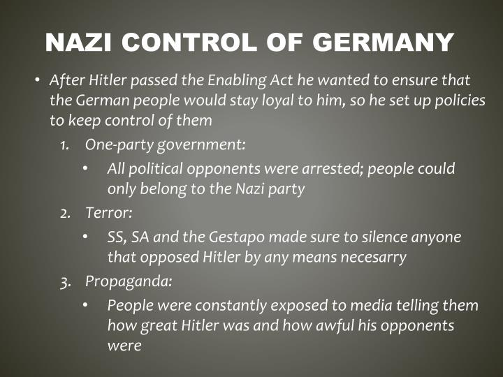 Nazi control of germany