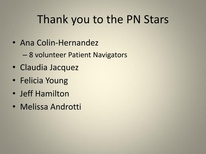 Thank you to the PN Stars