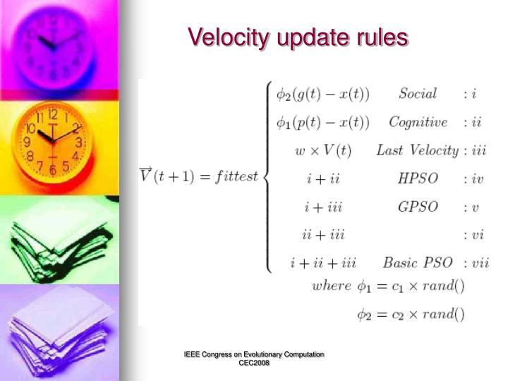 Velocity update rules