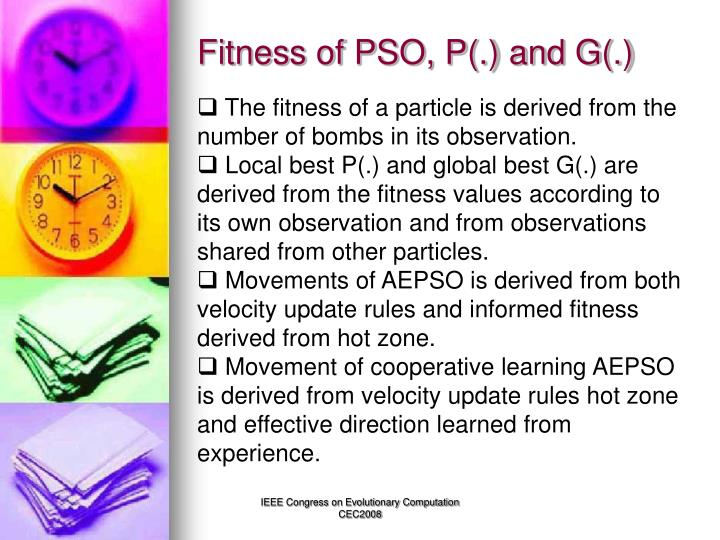 Fitness of PSO, P(.) and G(.)
