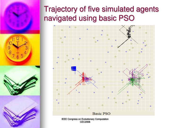 Trajectory of five simulated agents navigated using basic PSO