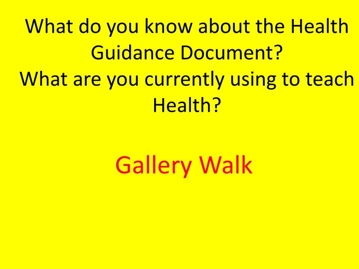What do you know about the Health Guidance Document?