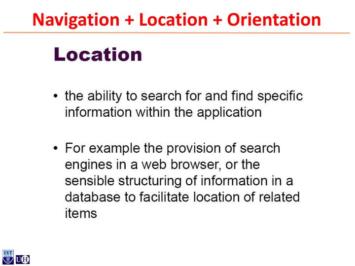 Navigation + Location + Orientation