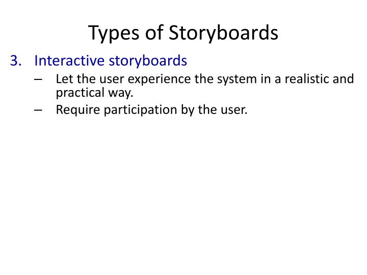 Types of Storyboards