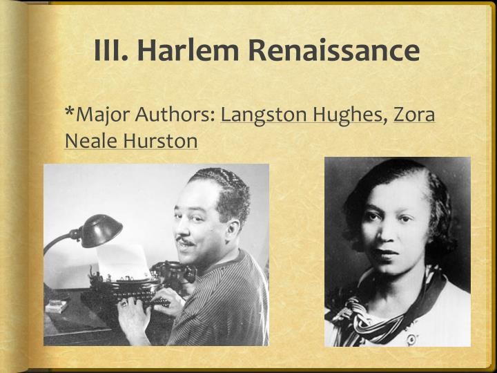 III. Harlem Renaissance