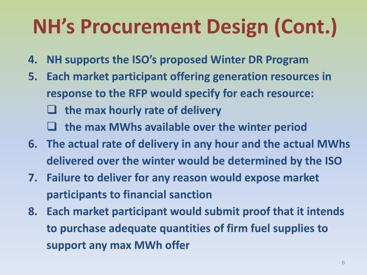 NH's Procurement Design (Cont.)