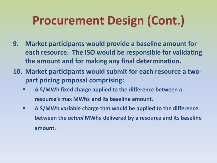 Procurement Design (Cont.)