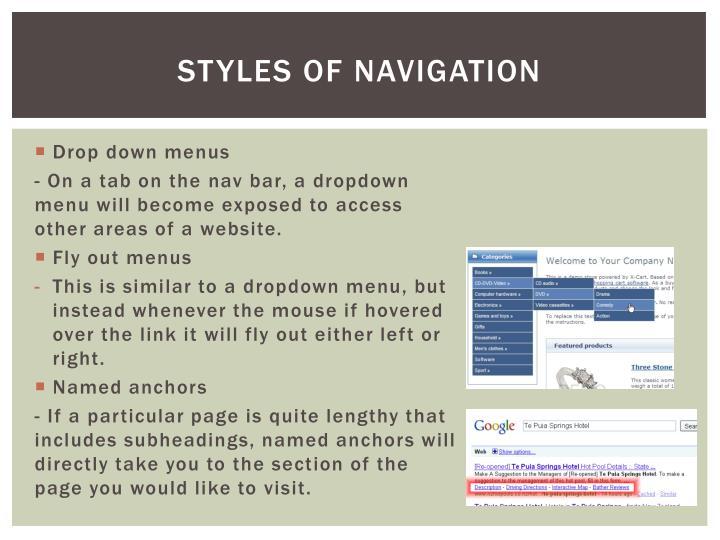Styles of navigation