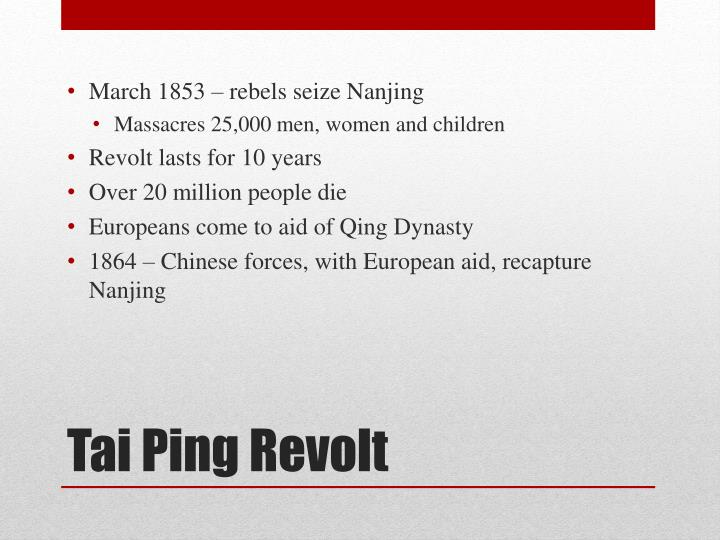 March 1853 – rebels seize Nanjing