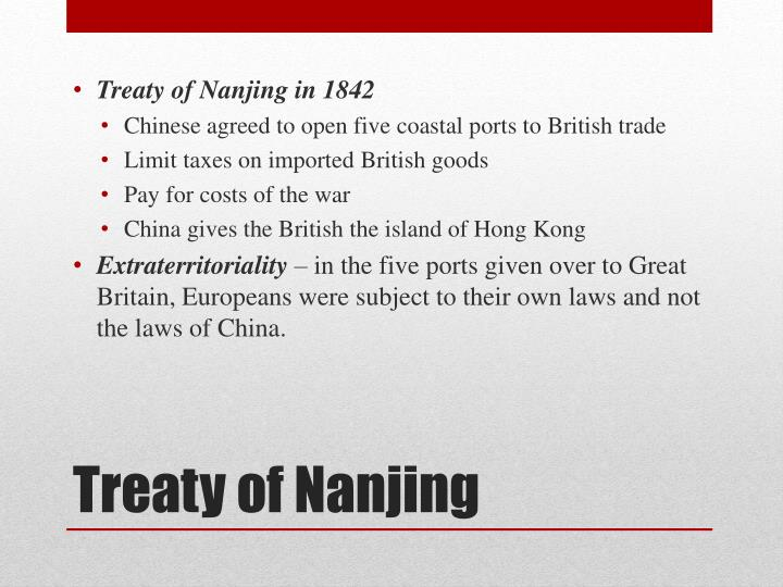 Treaty of Nanjing in 1842