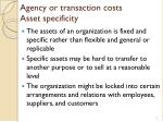 agency or transaction costs asset specificity