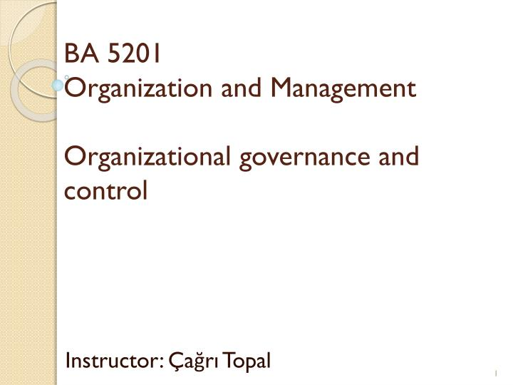 Ba 5201 organization and management organizational governance and control